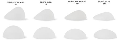 Implantes anatómicos y redondos con los perfiles del fabricante Silimed